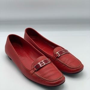 Prada Red Leather Loafer Shoe Flats Sz 8.5